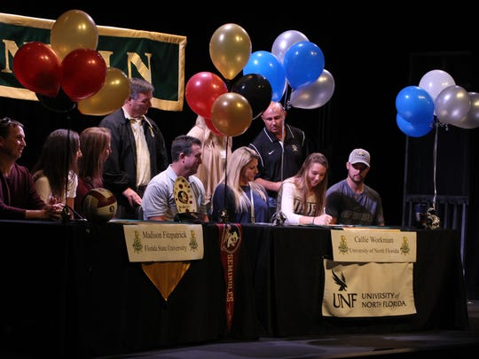 Lincoln senior Madison Fitzpatrick signed to play beach volleyball at FSU on Friday, and senior Callie Workman signed to play both indoor and beach at UNF.