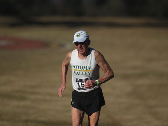 Maryland resident John Elliott, 78, running with Potomac Valley Track Club, was the oldest runner in the field during Saturday's USA Track & Field National Club Cross Country Championship at Apalachee Regional Park.