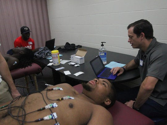 Who We Play For co-founder Evan Ernst runs a heart screening for Godby High School student-athletes in December 2016