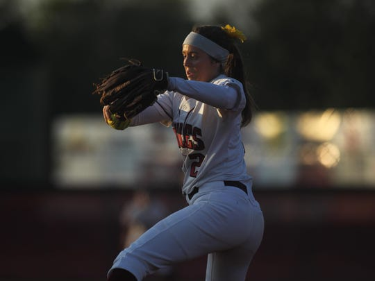 Chiles senior Erin O'Leary prepares to fire a pitch during Tuesday night's game against Godby.