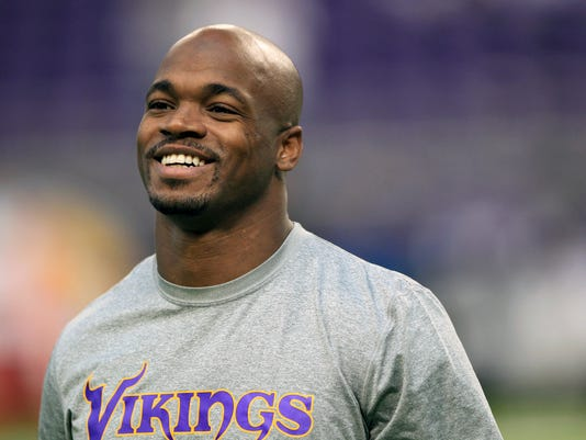 """FILE - In this Dec. 18, 2016, file photo, Minnesota Vikings running back Adrian Peterson warms up before the start of an NFL football game against the Indianapolis Colts, in Minneapolis. Peterson scoffs at the notion that decade in the NFL and a pair of knee injuries have somehow left him a worn down, less effective version of his former dominant self. """"It's kind of crazy to hear people even comment on how many years I have left and compare me to other running backs when I'm just my own individual,"""" Peterson, who signed with New Orleans Saints last week, said while on a conference call hosted by his new club Tuesday, May 2, 2017. (AP Photo/Andy Clayton-King, File)"""