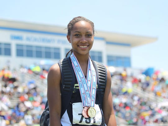 Florida High senior Adrianna Mitchell won gold in triple jump and bronze in long jump last year. She'll try for double gold this season, entering with the top marks in 2A in both events.
