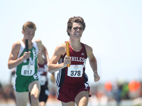 Chiles junior Michael Phillips runs the 4x800 last year. Phillips has both the 1600 and 3200, in which he has 3A's leading times, to win gold this year.
