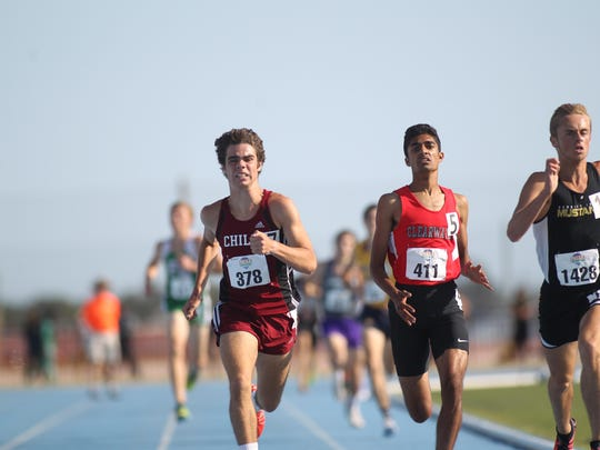 Chiles junior Michael Phillips races to the finish line and a state runner-up result in the 1600 last year. Phillips has both the 1600 and 3200, in which he has 3A's leading times, to win gold this year.