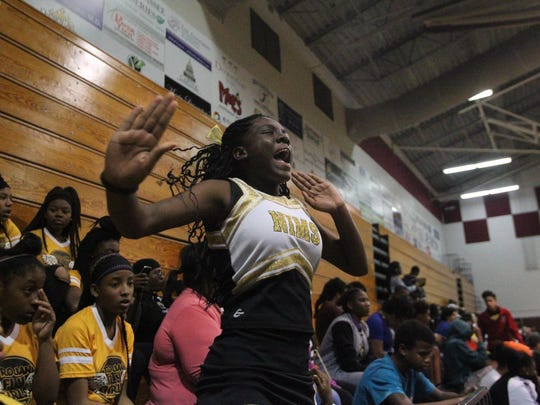 Tianiya Hall-Scales fired up the team as the only cheerleader for Nims Middle School last year.