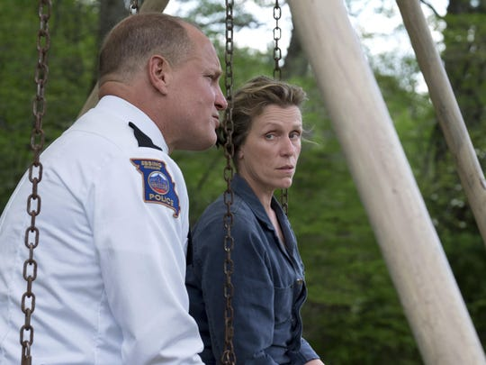 Woody Harrelson, a police chief, and Frances McDormand,
