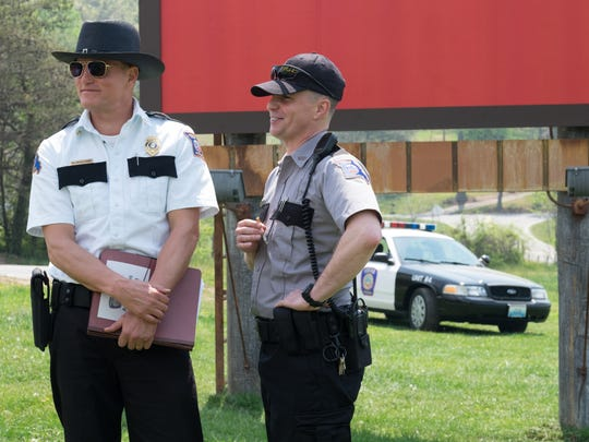 "Woody Harrelson and Sam Rockwell in ""Three Billboards Outside Ebbing, Missouri."""