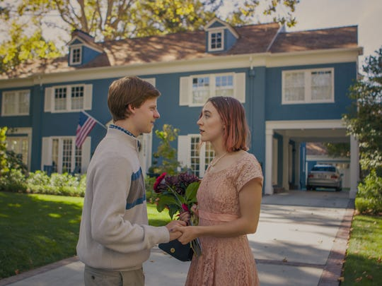 "Lucas Hedges and Saoirse Ronan in ""Lady Bird."""