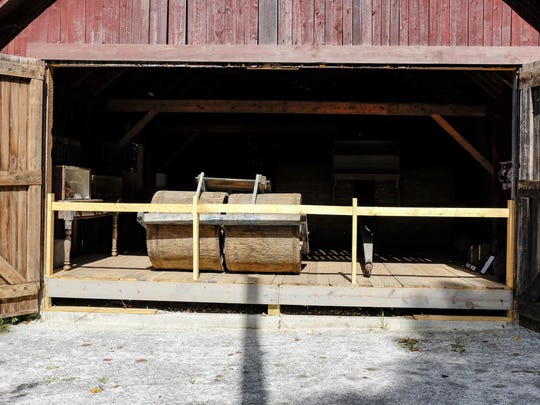 Interior view of Peacham Snow Roller Barn and Musueum from the front door.