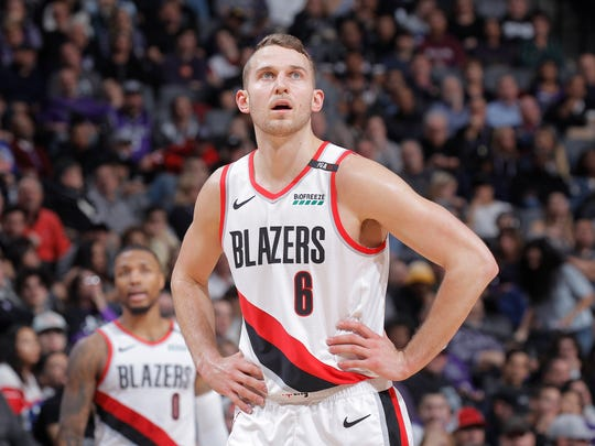Nik Stauskas #6 of the Portland Trail Blazers on Jan. 14, 2019 at Golden 1 Center in Sacramento.