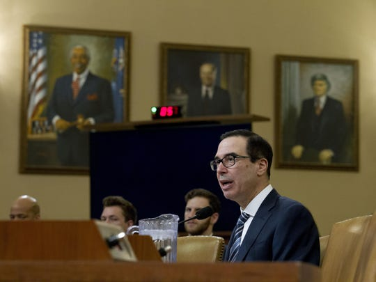 Treasury Secretary Steven Mnuchin testifies before the House Ways and Means Committee on FY'20 budget on Capitol Hill in Washington, Thursday, March 14, 2019.