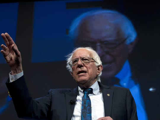 In this April 1, 2019, file photo, Democratic presidential candidate Sen. Bernie Sanders, I-Vt., speaks during the We the People Membership Summit in Washington.