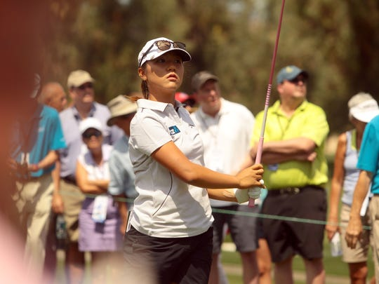 New Zealand's Lydia Ko tees off on two during the 2nd round of the ANA Inspiration at Mission Hills Country Club in Rancho Mirage on Friday.