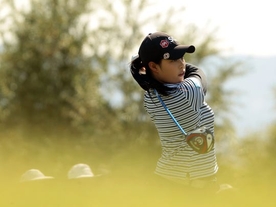 Moriya Jutanugarn tees off on No. 7 during the third round of the ANA Inspiration at Mission Hills Country Club in Rancho Mirage on Saturday.