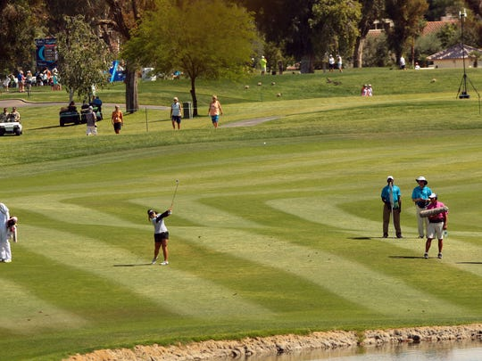 Moriya Jutanugarn hits her approach shot on No. 6 during the third round of the ANA Inspiration at Mission Hills Country Club in Rancho Mirage on Saturday.