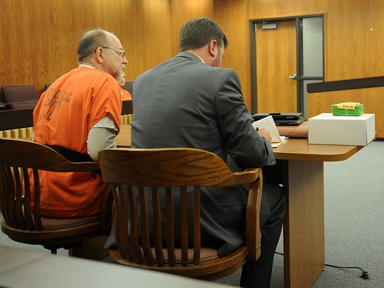 Dennis Brantner sits next to his attorney Craig Powell in a Fond du Lac County courtroom while on trial in 2015 for the 25-year-old cold case murder and disappearance of teen Berit Beck. Brantner, now behind bars, is appealing a drug conviction that will be heard by the state  Supreme Court. It involves his six-year, seven-month sentence for smuggling drugs into the Fond du Lac County Jail.