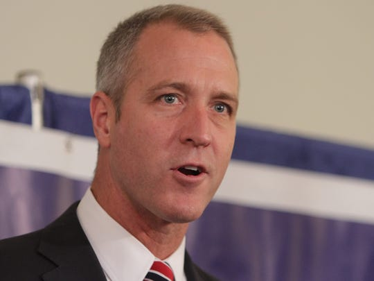 "Rep. Sean Patrick Maloney speaks at a campaign event billed ""Women for Mahoney"" at the Pinnacle Restaurant at Heritage Hills in Somers Oct. 27, 2014. Hillary Rodham Clinton spoke at the event."
