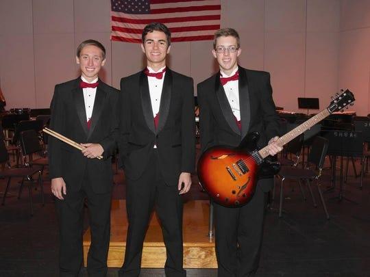 VBHS Jazz Trio: Tyler Putzke drums, Colin Rhodes piano, Alex Weyand guitar