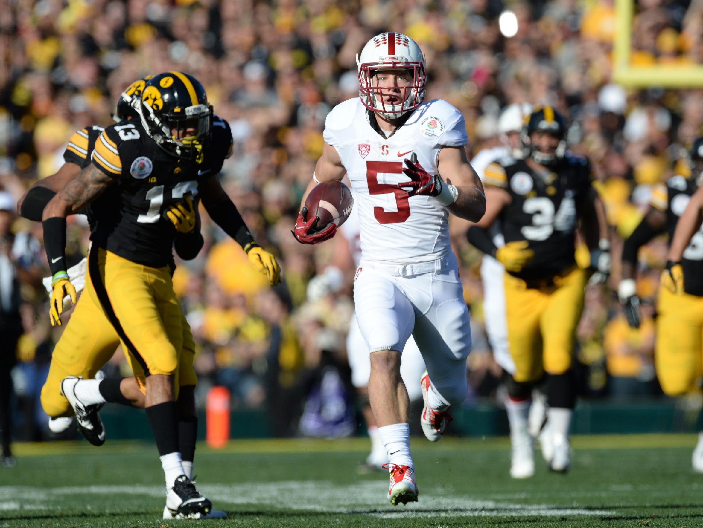 McCaffrey gained more yards against Iowa in the Rose