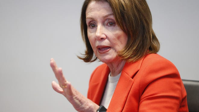 House Minority Leader Nancy Pelosi talks with The Arizona Republic editorial board in Phoenix Feb. 20, 2018. Pelosi is openly critical of President Trump's $1.5 trillion tax cuts package that passed in December.