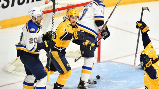 Nashville Predators defenseman Roman Josi (59) after scoring the first Preds goal in the second period in game 6 of the second round NHL Stanley Cup Playoffs at the Bridgestone Arena  Sunday, May 7, 2017, in Nashville, Tenn.