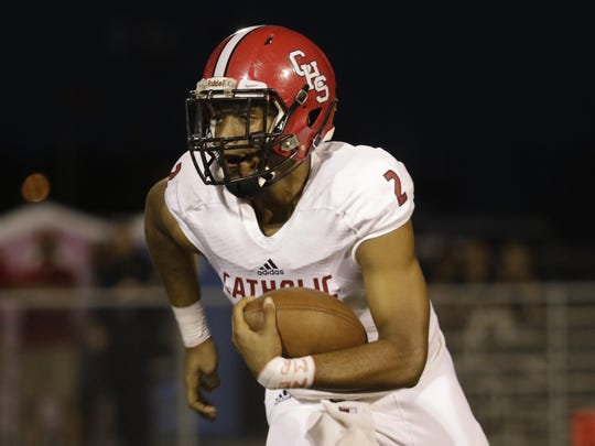 Catholic High of New Iberia quarterback Diallo Landry has emerged as a big-play receiver for the Panthers this season.