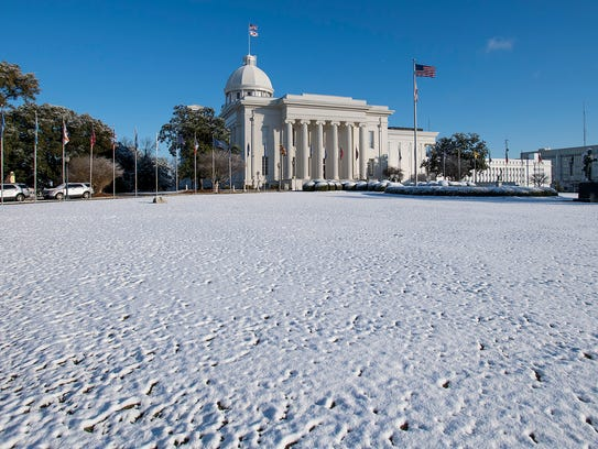 Snow on the Alabama state capitol grounds in Montgomery,