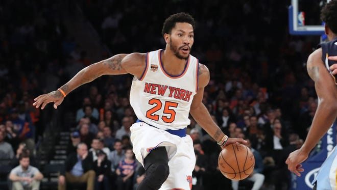 Derrick Rose scored 13 points for the Knicks in their home opener.