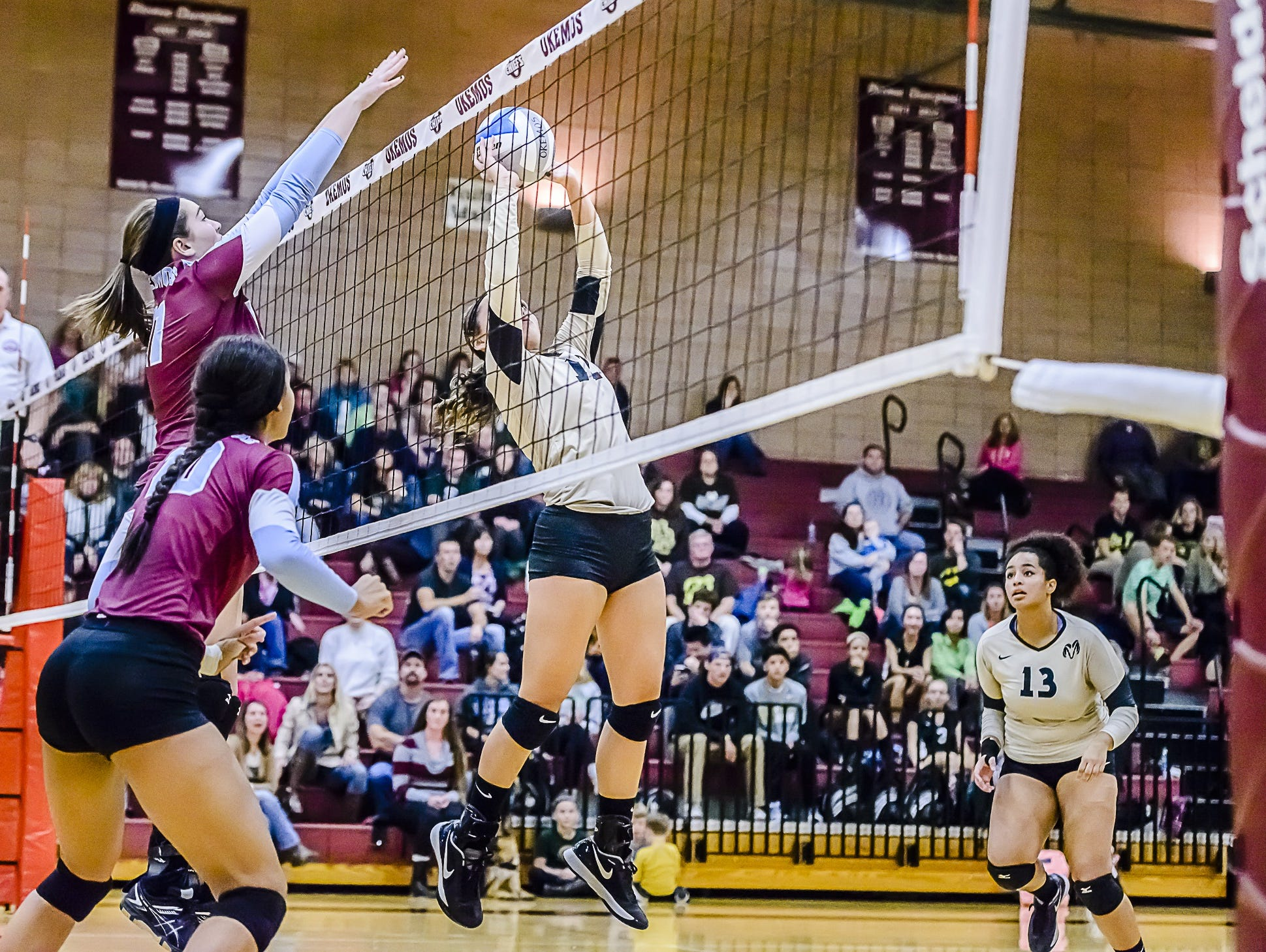 Alana Sundermann, center, of Holt, is seen here setting the ball in a match last year against Okemos.