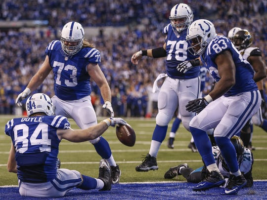 Colts tight end Jack Doyle, here spiking the ball after catching a game-winning touchdown pass, will be one of the Colts' biggest free agents.
