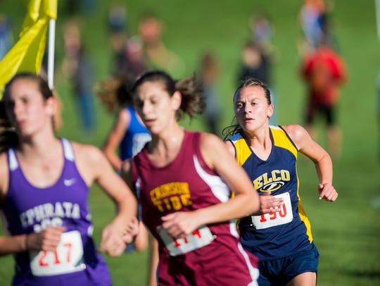 Elco's Lily Brubaker, right, placed 29th in the Girls