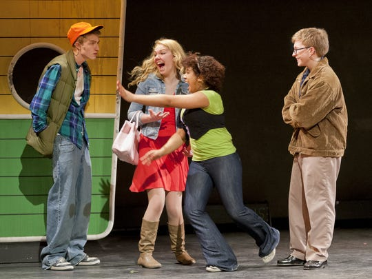 Josiah Rawlings, Keara Byron, Jewell Payne and Brendan Coyle perform a scene in Ithaca High School's 2014 production of 'Legally Blonde.'