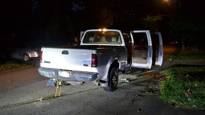 Police say this stolen pick-up truck, a white 2005 Ford F250 owned by a resident of the Hingham Shipyard, was used to steal cash from an ATM. Hingham police photo