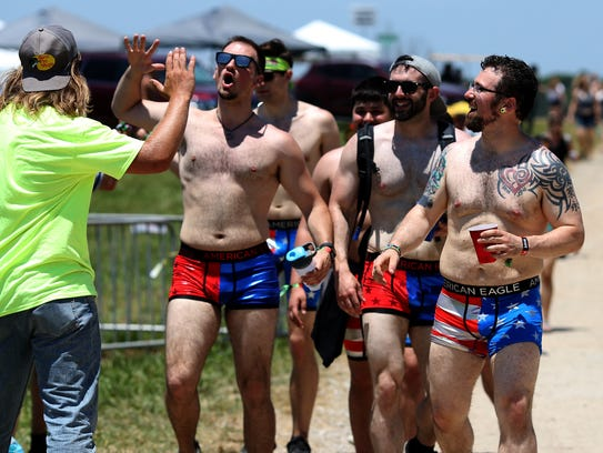 Guys in patriotic underwear at the Bonnaroo Music and