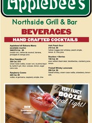 The fake Applebee's menu at Northside Yacht Club for