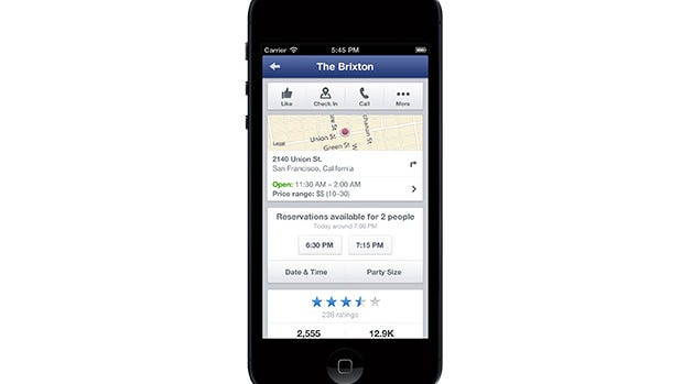 Facebook is adding integration with Open Tale to bring restaurant reservations to its mobile apps.