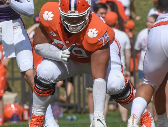 Clemson offensive lineman Jackson Carman (79) during