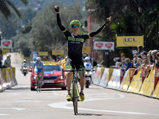US cyclist Ben King celebrates after winning the first