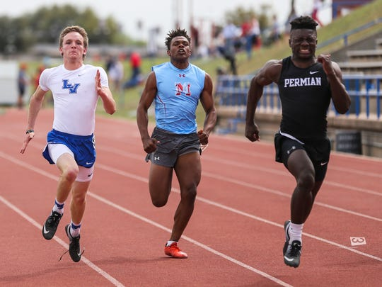 San Angelo Lake View's Elliot Peterson runs against sprinters from Odessa Permian and Lubbock Monterey in the 100 meter dash during the San Angelo Relays on Friday, March 23, 2018, at San Angelo Stadium.