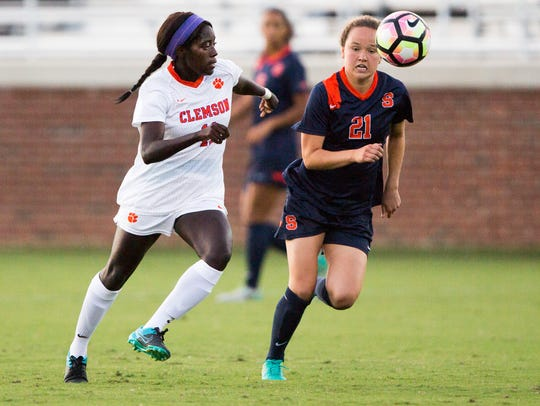 Clemson senior midfielder Catrina Atanda and Syracuse