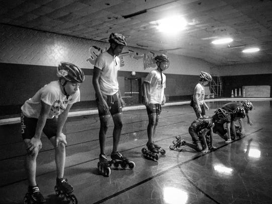 Southern Speed inline speed skater Aden Sailor (second from left) is one of 19 racers that will be competing at Indoor Nationals in Albuquerque, N.M. next week.