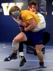 Josh Ramirez practices with teammate Kolton Bartow