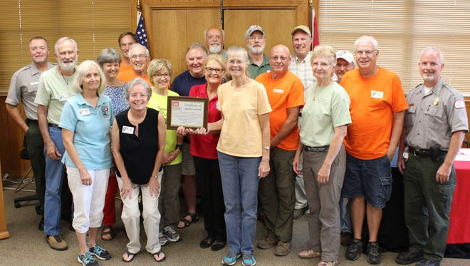 The U.S. Army Corps of Engineers recently honored North Central Arkansas Master Naturalists who worked 417 hours on 19 miles of Lake Norfork trails in 2015-2016. NCAMN's volunteer trail team has maintained USACE trails for seven years. Applications for NCAMN's 2017 class are available at: http://wordpress.arkansasmasternaturalists.org/how-do-i-join/.