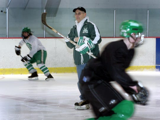 Tim McCarthy/staff photographer 021607 - POCEAN - Brick Twp., Ocean Ice Palace,       Hockey coach Bob Auriemma - (profile) 70 year old Auriemma runs hockey practice with the Brick High School hockey team