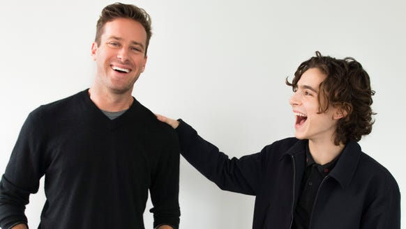 Armie Hammer, left, and Timothée Chalamet fall in love