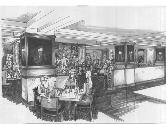 A drawing of the forthcoming Caucus Club restaurant interior, which is being revived by restaurateur George Sboukis in its original downtown Detroit location.
