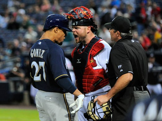 Benches cleared in the first inning of the game between the Milwaukee and Atlanta after Brewers center fielder Carlos Gomez and Braves Brian McCann got into a heated argument over Gomez's home run.