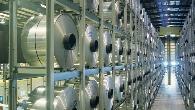 Robotic storage is seen inside an aluminium plant. Noranda Aluminum Holding Corp., which refines aluminum and mines bauxite, filed for bankruptcy protection in February.