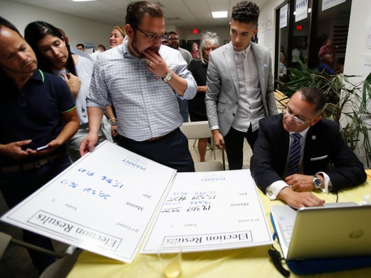 At far right, Riverside County Board Supervisor Manuel V. Perez looks over election results with his team at the supervisor's field office in Indio on June 5, 2018.