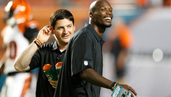Former Bengal Chad Johnson greets fans before the start of Cincinnati's game against the Miami Dolphins in Miami on Oct. 31, 2013.
